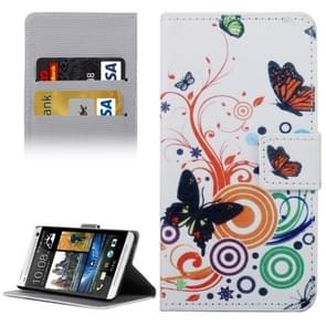For HTC Desire 530 Butterflies Love Flowers Patterns Horizontal Flip Leather Case with Holder & Card Slots & Wallet