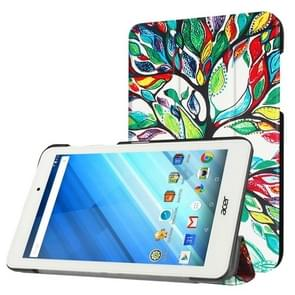 For Acer Iconia One 8 / B1-850 Colorful Tree Pattern Horizontal Flip Leather Case with Three-folding Holder