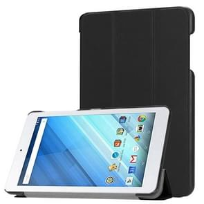 Voor Acer Iconia One 8 B1-860 Tablet Tri-Fold Custer structuur horizontaal Flip PU lederen beschermings hoesje met houder (zwart)