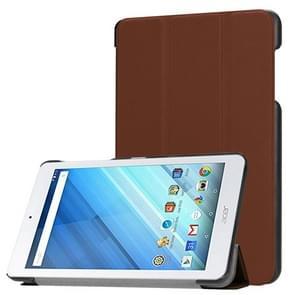 Voor Acer Iconia One 8 B1-860 Tablet Tri-Fold Custer structuur horizontaal Flip PU lederen beschermings hoesje met houder (koffie kleur)