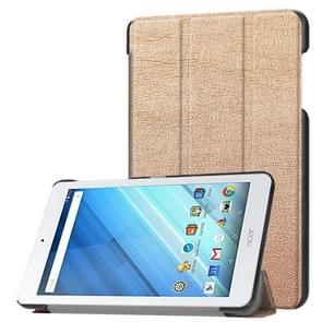 Voor Acer Iconia One 8 B1-860 Tablet Tri-Fold Custer structuur horizontaal Flip PU lederen beschermings hoesje met houder (Champagne Goud)