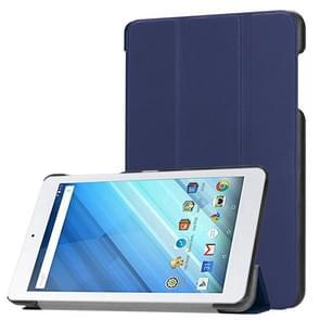 Voor Acer Iconia One 8 B1-860 Tablet Tri-Fold Custer structuur horizontaal Flip PU lederen beschermings hoesje met houder (donker blauw)