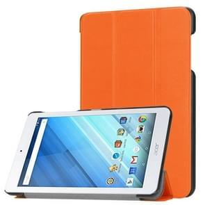 Voor Acer Iconia One 8 B1-860 Tablet Tri-Fold Custer structuur horizontaal Flip PU lederen beschermings hoesje met houder (Oranje)