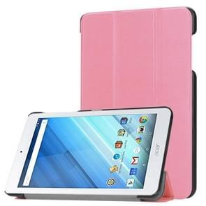 Voor Acer Iconia One 8 B1-860 Tablet Tri-Fold Custer structuur horizontaal Flip PU lederen beschermings hoesje met houder (roze)