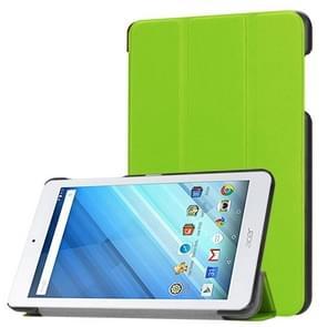 Voor Acer Iconia One 8 B1-860 Tablet Tri-Fold Custer structuur horizontaal Flip PU lederen beschermings hoesje met houder (groen)