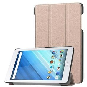 Voor Acer Iconia One 8 B1-860 Tablet Tri-Fold Custer structuur horizontaal Flip PU lederen beschermings hoesje met houder (Goud)