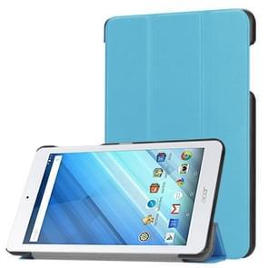 Voor Acer Iconia One 8 B1-860 Tablet Tri-Fold Custer structuur horizontaal Flip PU lederen beschermings hoesje met houder (blauw)