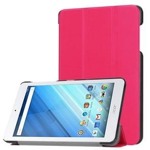 Voor Acer Iconia One 8 B1-860 Tablet Tri-Fold Custer structuur horizontaal Flip PU lederen beschermings hoesje met houder (hard roze)