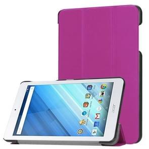 Voor Acer Iconia One 8 B1-860 Tablet Tri-Fold Custer structuur horizontaal Flip PU lederen beschermings hoesje met houder (paars)