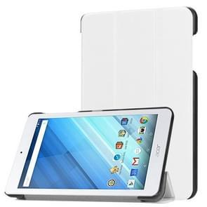 Voor Acer Iconia One 8 B1-860 Tablet Tri-Fold Custer structuur horizontaal Flip PU lederen beschermings hoesje met houder wit