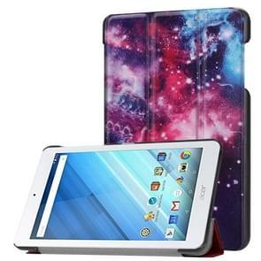 Voor Acer Iconia One 8 B1-860 Tablet Tri-Fold Cosmic Galaxy patroon horizontaal Flip PU lederen beschermings hoesje met houder