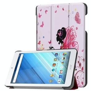 Voor Acer Iconia One 8 B1-860 Tablet Tri-Fold vlinder Fairy patroon horizontaal Flip PU lederen beschermings hoesje met houder