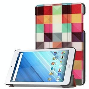 Voor Acer Iconia One 8 B1-860 Tablet Tri-Fold Kleurrijk Magic Kubus patroon horizontaal Flip PU lederen beschermings hoesje met houder