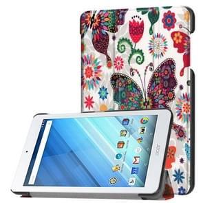 Voor Acer Iconia One 8 B1-860 Tablet Tri-Fold Kleurs vlinder patroon horizontaal Flip PU lederen beschermings hoesje met houder