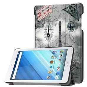 Voor Acer Iconia One 8 B1-860 Tablet Tri-Fold Retro Eifeltoren horizontaal Flip PU lederen beschermings hoesje met houder