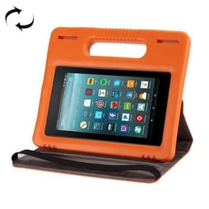 For Amazon Kindle Fire 7 (2015&2017) 360 Degree Rotation Universal Leather Case + Removable EVA Bumper Protective Cover with Handle & 3 Gears Holder (Orange)
