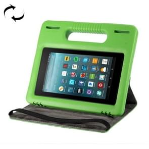 For Amazon Kindle Fire 7 (2015&2017) 360 Degree Rotation Universal Leather Case + Removable EVA Bumper Protective Cover with Handle & 3 Gears Holder (Green)
