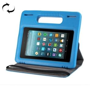 For Amazon Kindle Fire 7 (2015&2017) 360 Degree Rotation Universal Leather Case + Removable EVA Bumper Protective Cover with Handle & 3 Gears Holder (Blue)