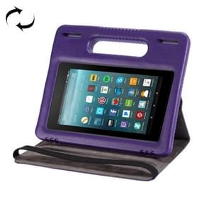 For Amazon Kindle Fire 7 (2015&2017) 360 Degree Rotation Universal Leather Case + Removable EVA Bumper Protective Cover with Handle & 3 Gears Holder (Purple)