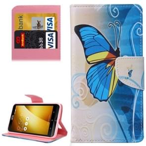 For Asus ZenFone 3 / ZE552KL Half Blue Butterfly Pattern Leather Case with Holder & Card Slots & Wallet