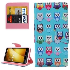 For Asus ZenFone 3 / ZE552KL Lovely Cartoon Owls Pattern Leather Case with Holder & Card Slots & Wallet