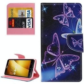For Asus ZenFone 3 / ZE552KL Purple Crystal Butterflies Pattern Leather Case with Holder & Card Slots & Wallet