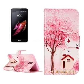 For LG X Screen Pink Happy Cottage Pattern Leather Case with Holder & Card Slots & Wallet