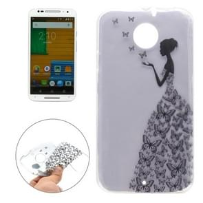 For Motorola Moto X / XT1085 Butterfly and Girl Pattern Transparent Soft TPU Protective Back Cover Case