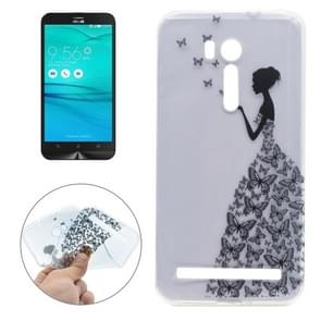 For ASUS Zenfone Go TV / ZB551KL Butterfly and Girl Pattern Transparent Soft TPU Protective Back Cover Case