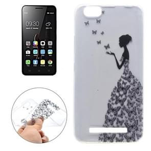 For Lenovo Vibe C / A2020 Butterfly and Girl Pattern Transparent Soft TPU Protective Back Cover Case
