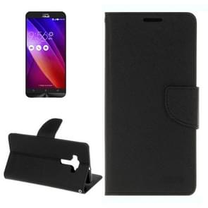 For ASUS ZE552KL Cross Texture Horizontal Flip Leather Case with Holder & Card Slots & Wallet(Black)