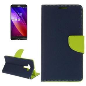 For ASUS ZE552KL Cross Texture Horizontal Flip Leather Case with Holder & Card Slots & Wallet(Dark Blue)
