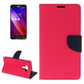 For ASUS ZE552KL Cross Texture Horizontal Flip Leather Case with Holder & Card Slots & Wallet(Magenta)