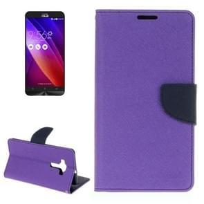 For ASUS ZE552KL Cross Texture Horizontal Flip Leather Case with Holder & Card Slots & Wallet(Purple)
