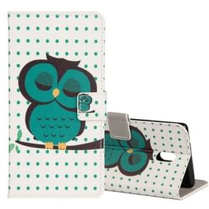 For Nokia N3 Dot and Owl Pattern Horizontal Flip Leather Case with Holder & Card Slots & Wallet