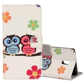 For Nokia N3 Lovers Owl Pattern Horizontal Flip Leather Case with Holder & Card Slots & Wallet