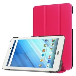 For Acer Iconia One 8 / B1-850 Custer Texture Horizontal Flip Solid Color Leather Case with Three-folding Holder(Magenta)