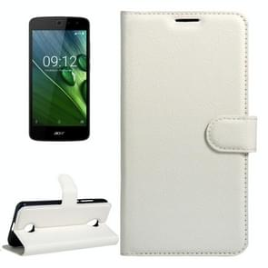 For Acer Liquid Zest / Z525 Litchi Texture Horizontal Flip Leather Case with Magnetic Buckle & Holder & Card Slots & Wallet(White)