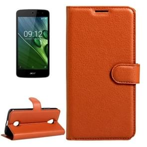 For Acer Liquid Zest / Z525 Litchi Texture Horizontal Flip Leather Case with Magnetic Buckle & Holder & Card Slots & Wallet(Brown)