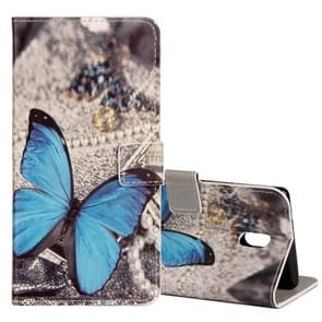 For Nokia N6 Blue Butterfly Pattern Horizontal Flip Leather Case with Holder & Card Slots & Wallet