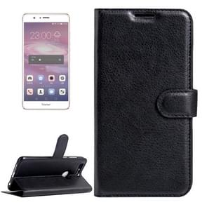 Huawei Honor 8 Litchi Texture Horizontal Flip Leather Case with Magnetic Buckle & Holder & Card Slots & Wallet(Black)