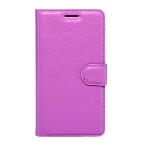 OPPO R9s Litchi Texture Horizontal Flip Leather Case with Magnetic Buckle & Holder & Card Slots & Wallet (Purple)