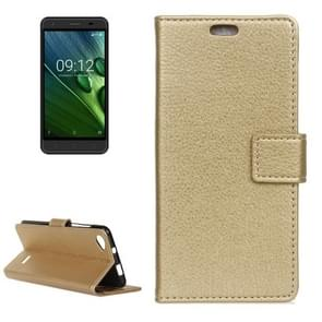 For Acer Liquid Z6E Litchi Texture Horizontal Flip Leather Case with Holder & Card Slots & Wallet & Photo Frame (Gold)