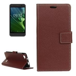 For Acer Liquid Z6E Litchi Texture Horizontal Flip Leather Case with Holder & Card Slots & Wallet & Photo Frame (Brown)