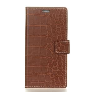 For Alcatel PIXI4 5.0 OT5010D 3G Retro Crocodile Texture Horizontal Flip Leather Case with Holder & Card Slots & Wallet & Photo Frame (Brown)