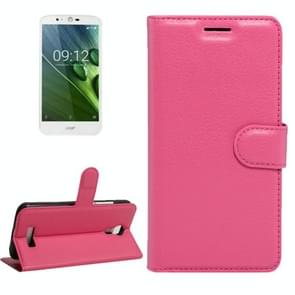 For Acer Liquid Zest Plus / Z628 Litchi Texture Horizontal Flip Leather Case with Magnetic Buckle & Holder & Card Slots & Wallet(Magenta)