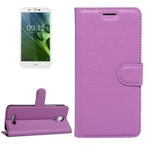 For Acer Liquid Zest Plus / Z628 Litchi Texture Horizontal Flip Leather Case with Magnetic Buckle & Holder & Card Slots & Wallet(Purple)