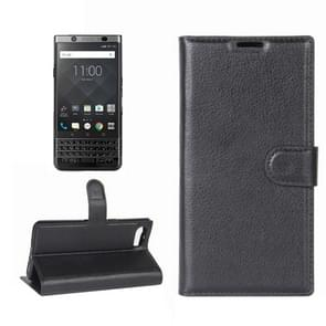 For BlackBerry Keyone Litchi Texture Horizontal Flip Leather Case with Holder & Card Slots & Wallet(Black)