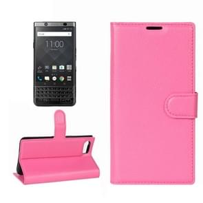 For BlackBerry Keyone Litchi Texture Horizontal Flip Leather Case with Holder & Card Slots & Wallet(Magenta)