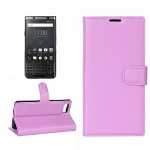 For BlackBerry Keyone Litchi Texture Horizontal Flip Leather Case with Holder & Card Slots & Wallet(Purple)